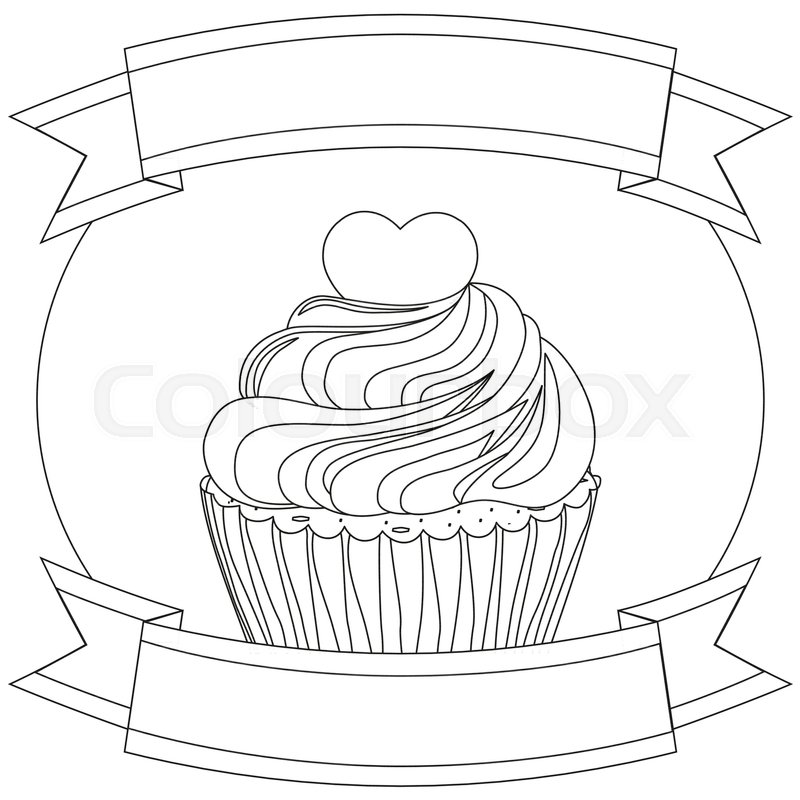 800x800 Black And White Cupcake Poster Heart Topping Ribbon. Comfort Anti