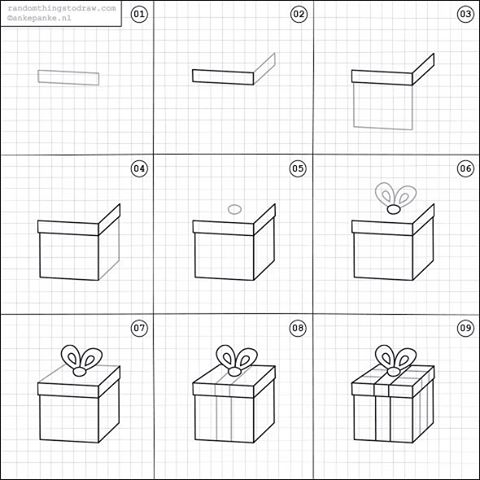 480x480 How To Draw A Gift. Cartooning Gift, Doodles