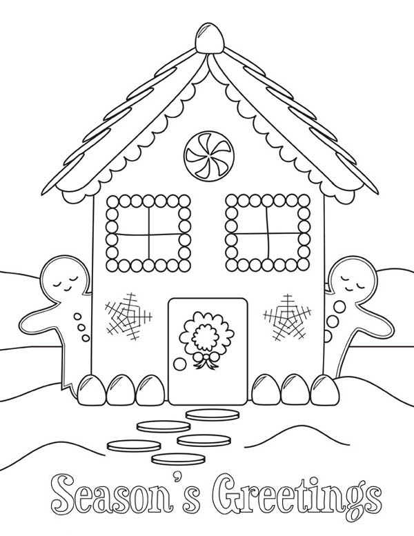 600x777 Gingerbread House And Two Man Coloring Page