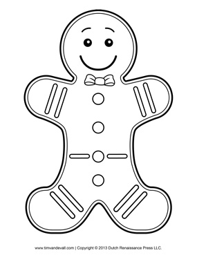 285x369 Gingerbread Man Template, Clipart Amp Coloring Page For Kids