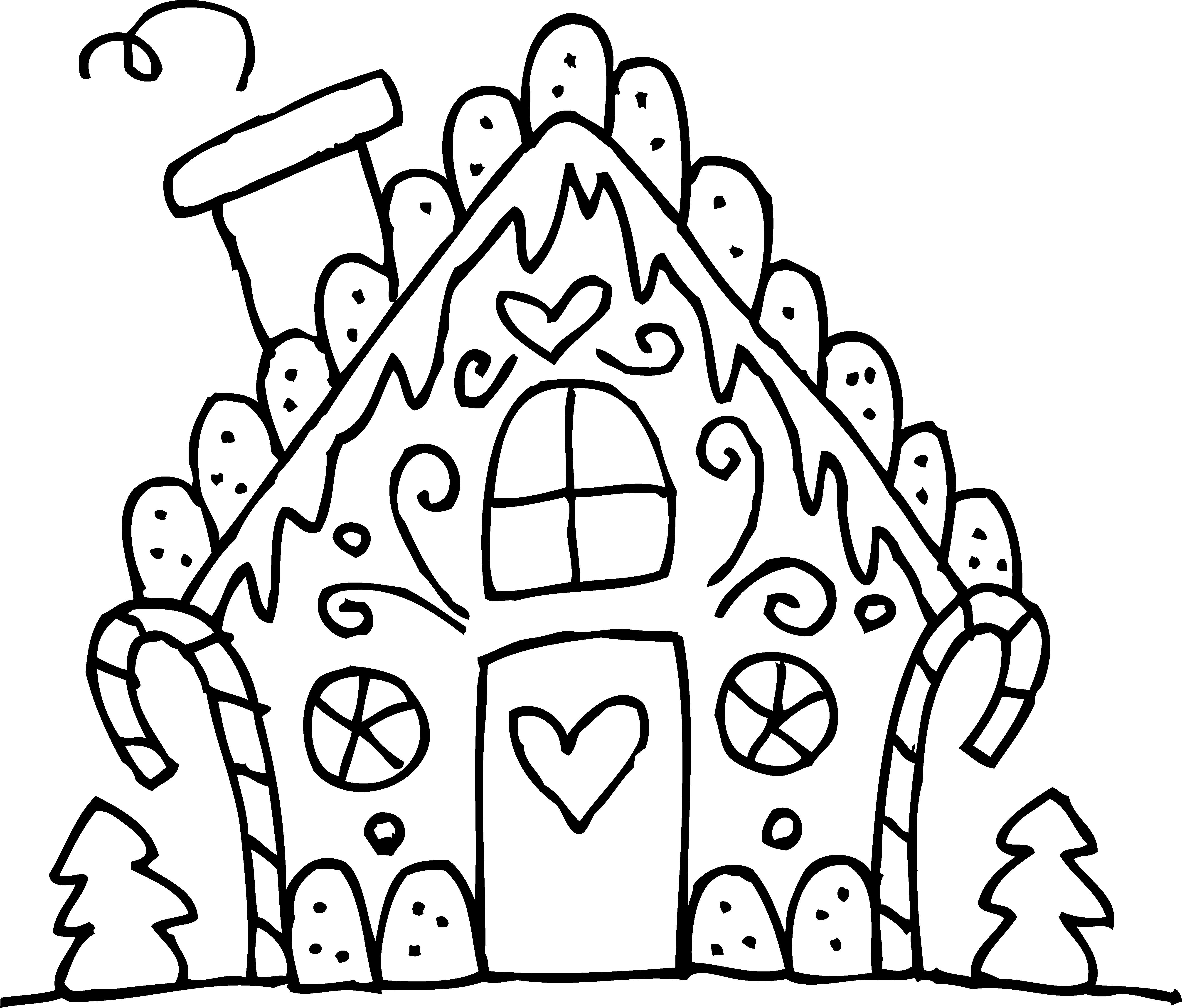 5208x4440 Cute Gingerbread House Line Art