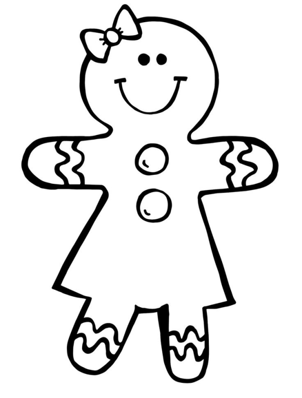 600x790 Gingerbread Girl Clipart Free