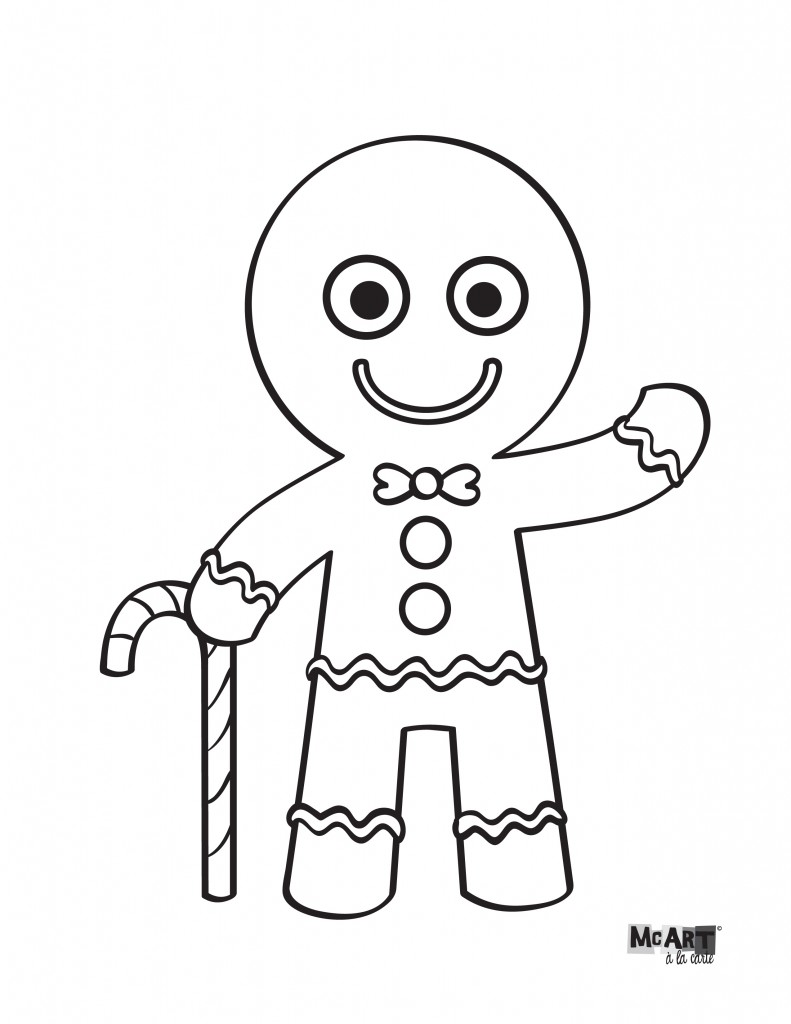 791x1024 Gingerbread Man Coloring Page Free Download