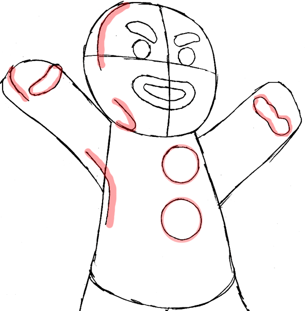 600x611 How To Draw Gingerbread Man From Shrek With Easy Steps Drawing