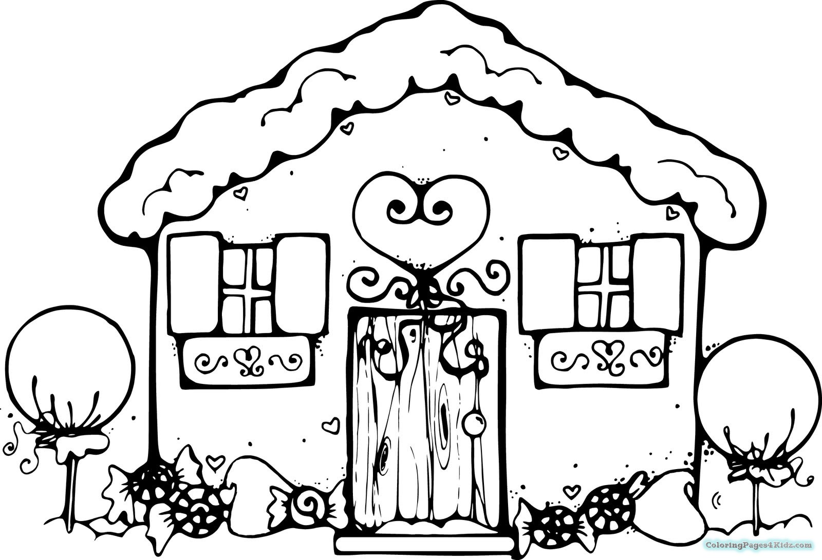 1600x1091 Large Gingerbread House Coloring Pages Coloring Pages For Kids