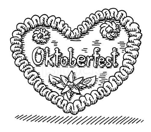 502x439 Oktoberfest Gingerbread Heart Drawing Stock Vector