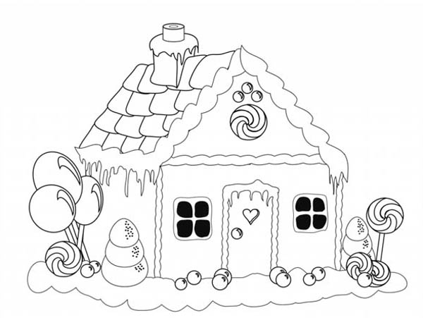 600x451 Gingerbread House Christmas Coloring Page For Kids Coloring Sun