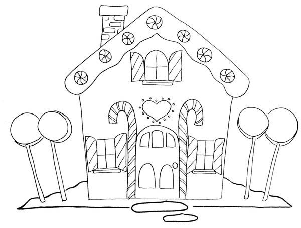 600x454 Gingerbread House And Four Big Lollipop Coloring Page