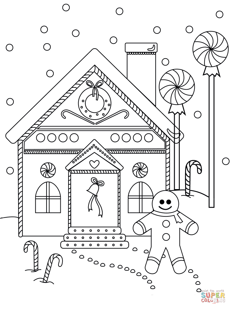 742x990 Gingerbread Man Near The House Coloring Page Free Printable