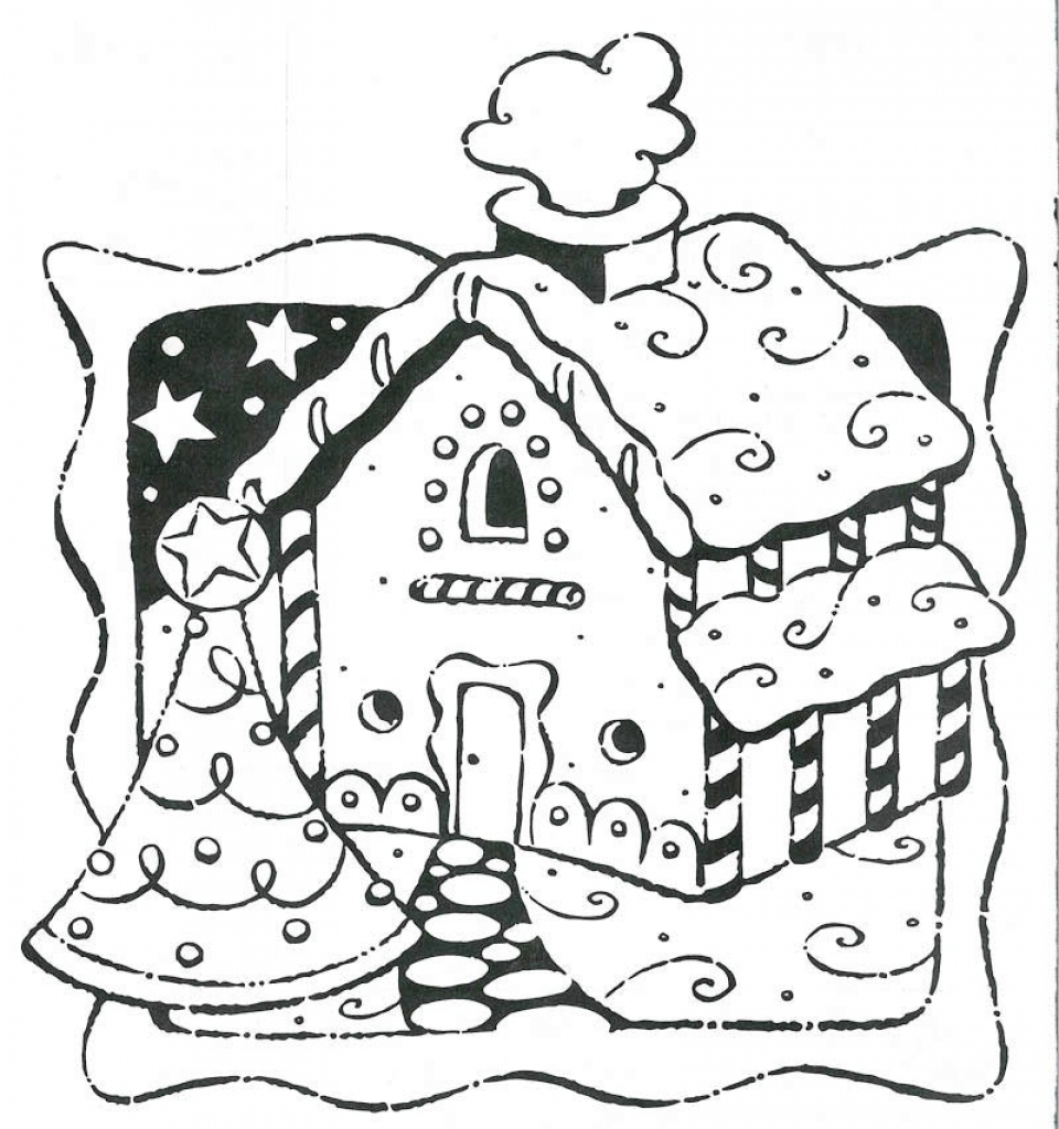 960x1024 Gingerbread House Coloring Pages With Lollipop
