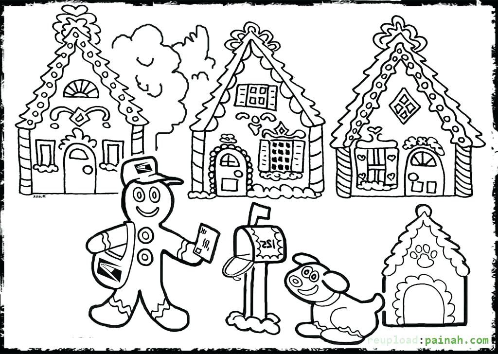 1024x728 Blank Gingerbread House Coloring Pages Free Sheets Strikingly Idea