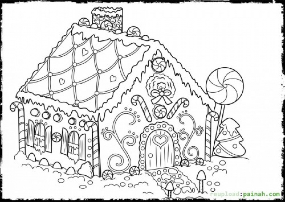 960x681 Marvelous Gingerbread House Coloring Pages 97 For Your Coloring