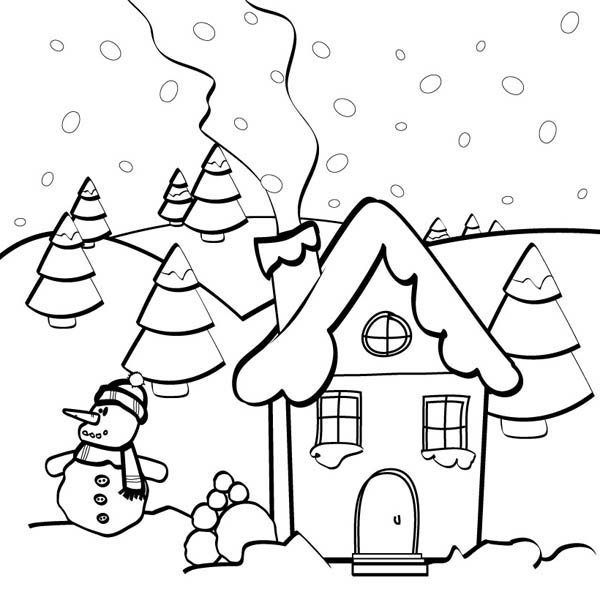 600x600 Snow Man And Gingerbread House Coloring Page