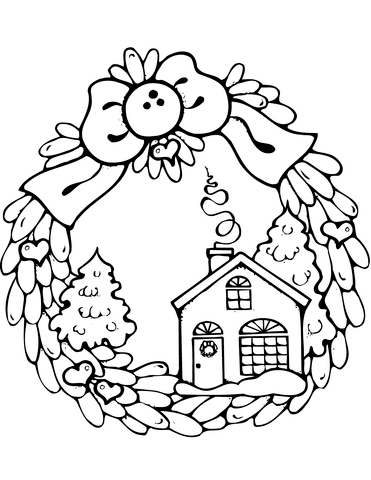 371x480 Christmas Wreath With Gingerbread House Coloring Page Free