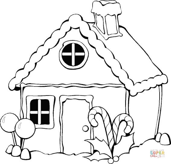 567x544 Christmas Gingerbread House Coloring Page Free Printable