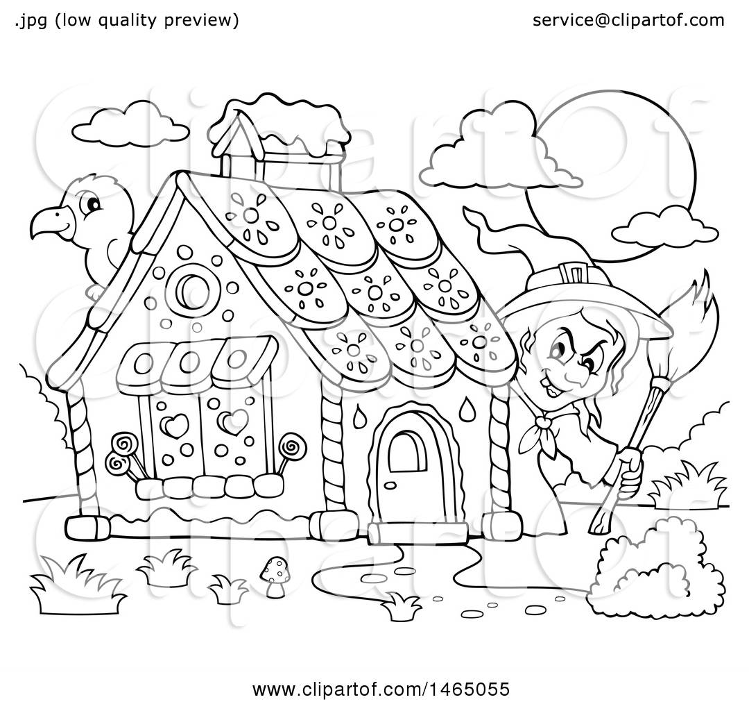 1080x1024 Clipart Of A Black And White Crow And Witch