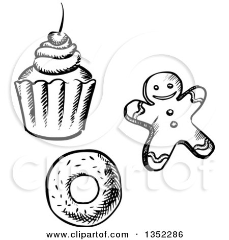 450x470 Clipart Of A Gingerbread Man Christmas Cookie