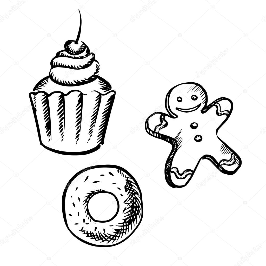 1024x1024 Cupcake, Gingerbread Man And Donut Sketches Stock Vector