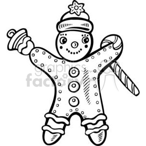 300x300 Royalty Free Gingerbread Man Holding A Candy Cane 381134 Vector