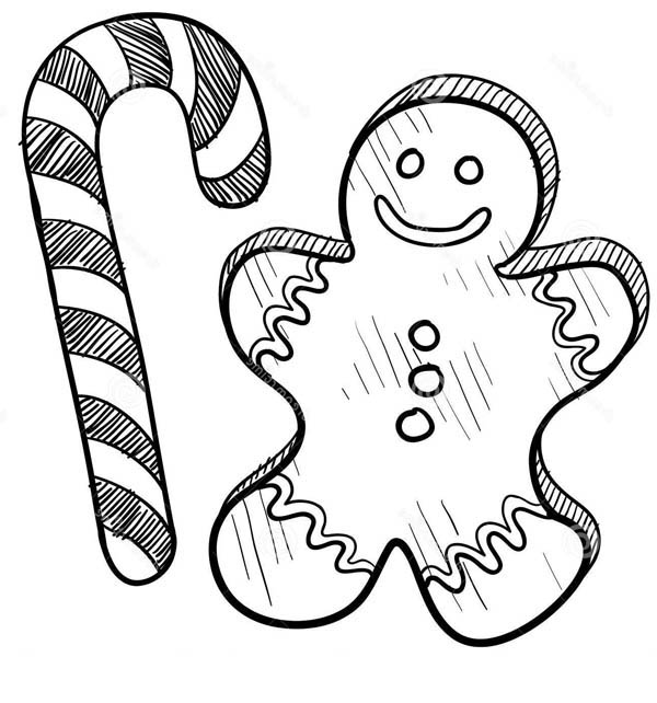 600x642 candy cane coloring pages and gingerbread man