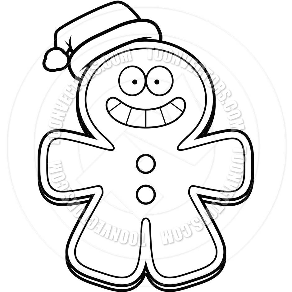 940x940 Cartoon Gingerbread Man Christmas (Black And White Line Art) By
