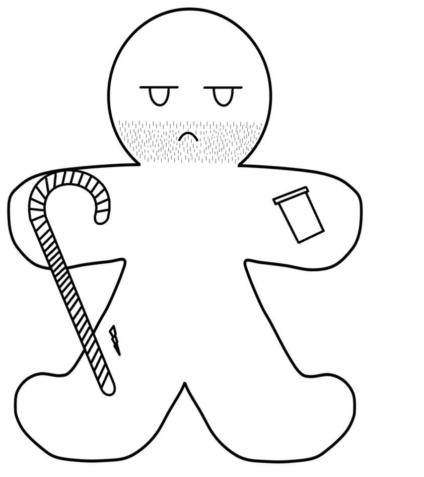 842x949 Gingerbread Man Outline