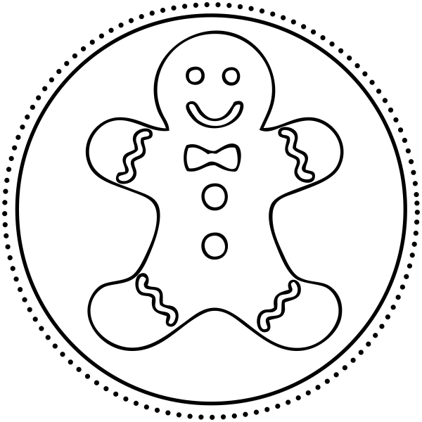 600x600 Gingerbread Man Personalized Address Stamp