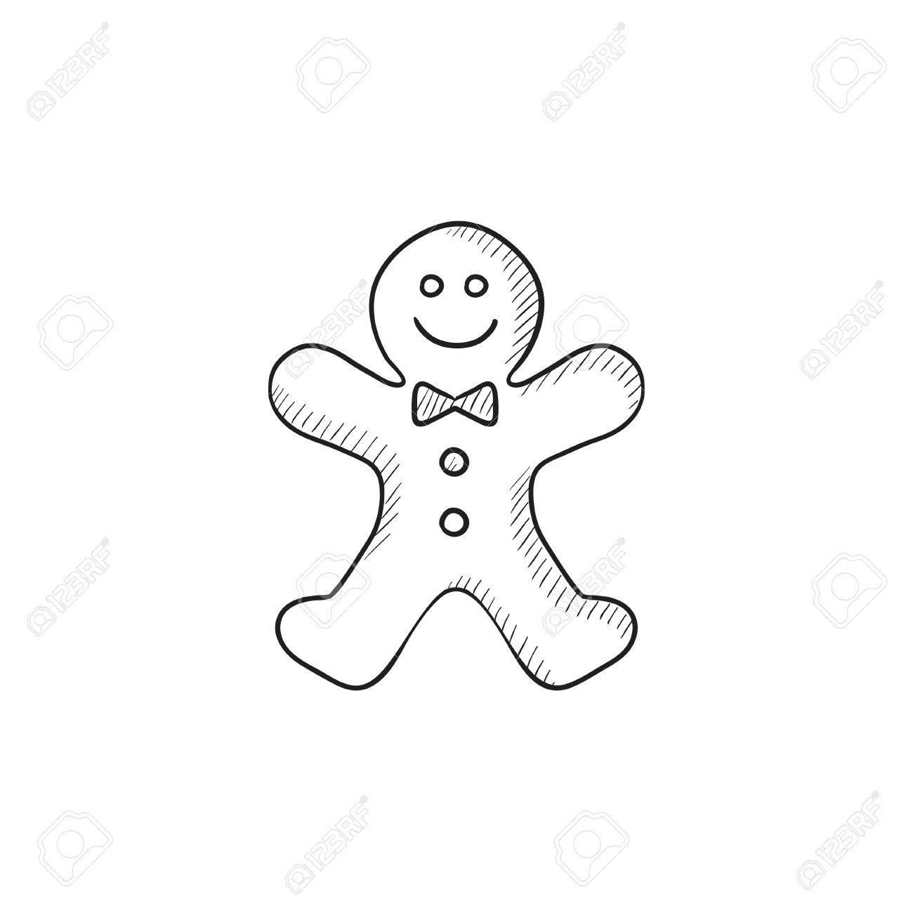 1300x1300 Gingerbread Man Vector Sketch Icon Isolated On Background. Hand