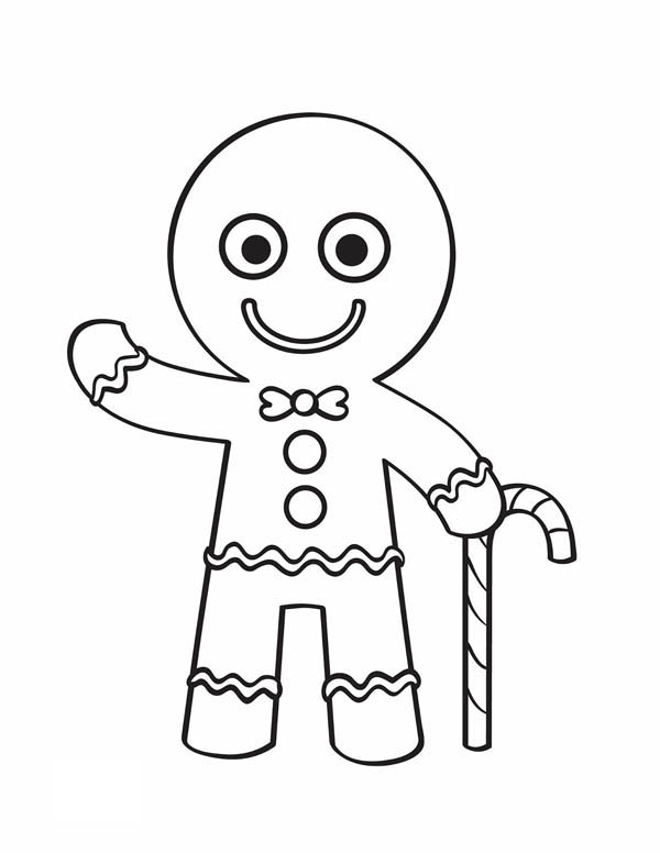 600x776 Candy Cane Coloring Pages Gingerbread Man