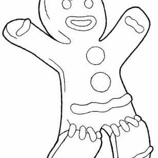 308x308 Hand Drawn Gingerbread Man Coloring Pages