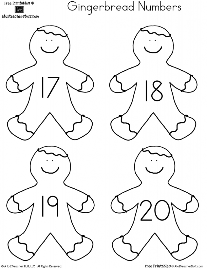 789x1024 Printable Gingerbread Man Numbers 1 To 20 A To Z Teacher Stuff