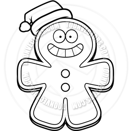 460x460 Cartoon Gingerbread Man Christmas (Black And White Line Art) By
