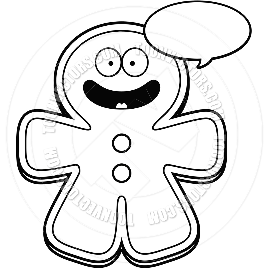 940x940 Cartoon Gingerbread Man Talking (Black And White Line Art) By Cory