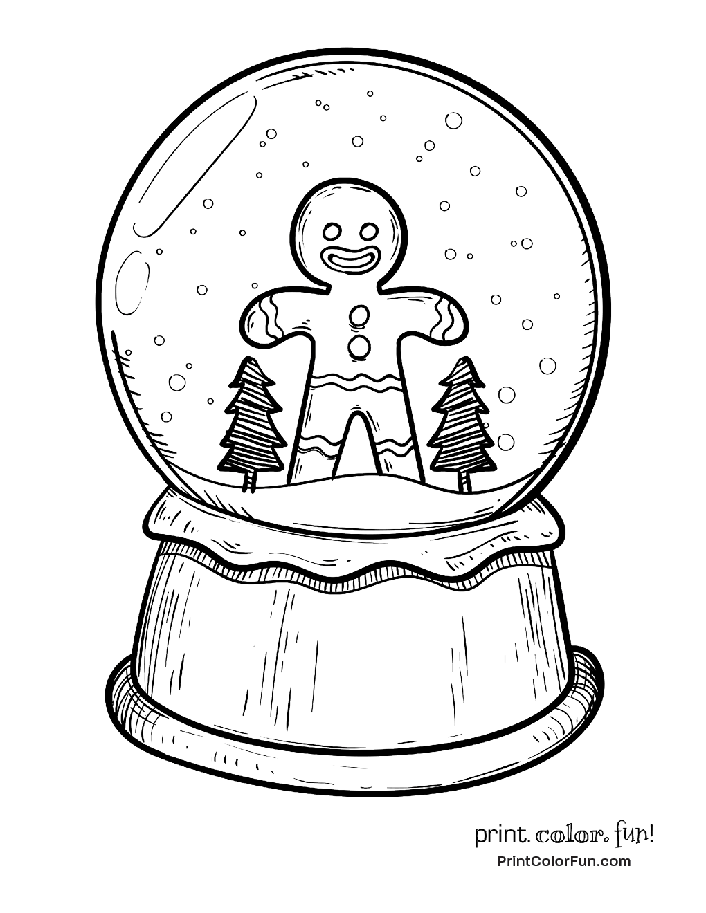 1020x1320 Christmas Snow Globe With Gingerbread Man Coloring Page