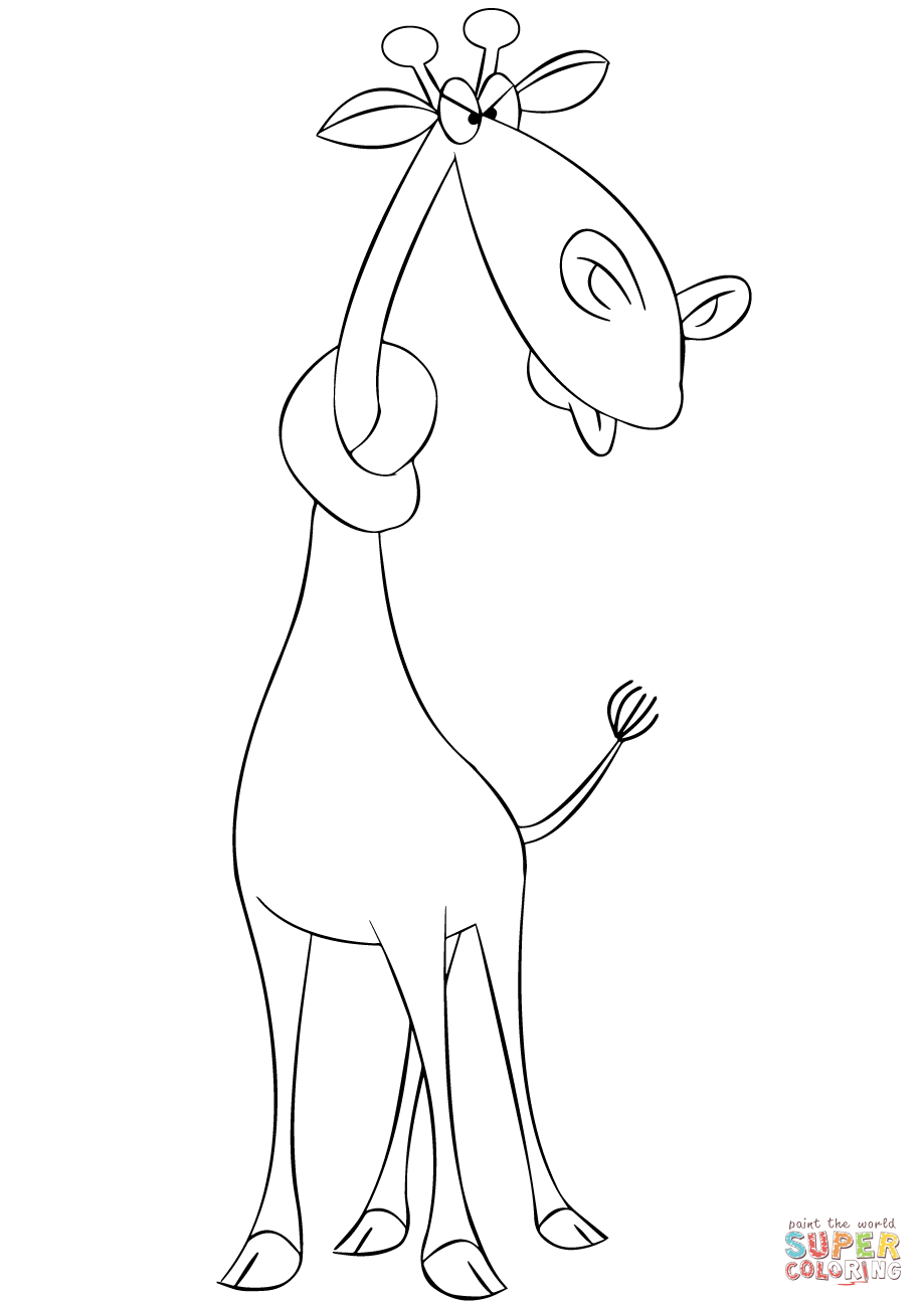 919x1300 Cartoon Giraffe With Neck In A Knot Coloring Page Free Printable