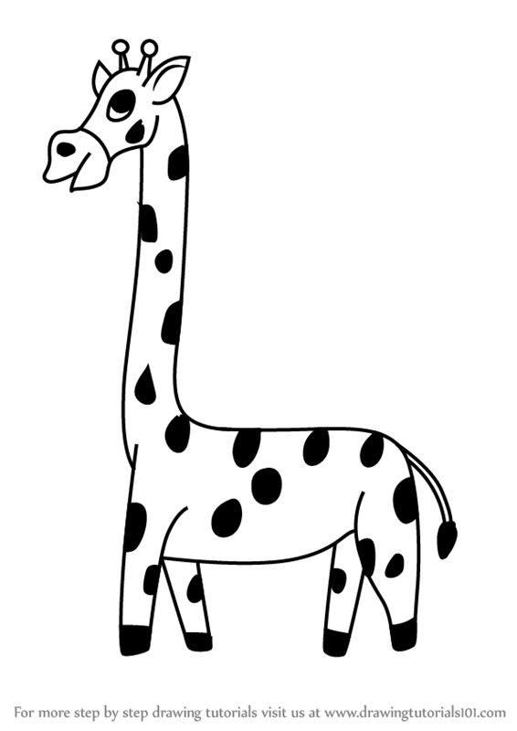 566x800 Learn How To Draw A Cartoon Giraffe (Cartoon Animals) Step By Step