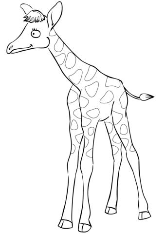 339x480 Cute Cartoon Baby Giraffe Coloring Page Free Printable Coloring
