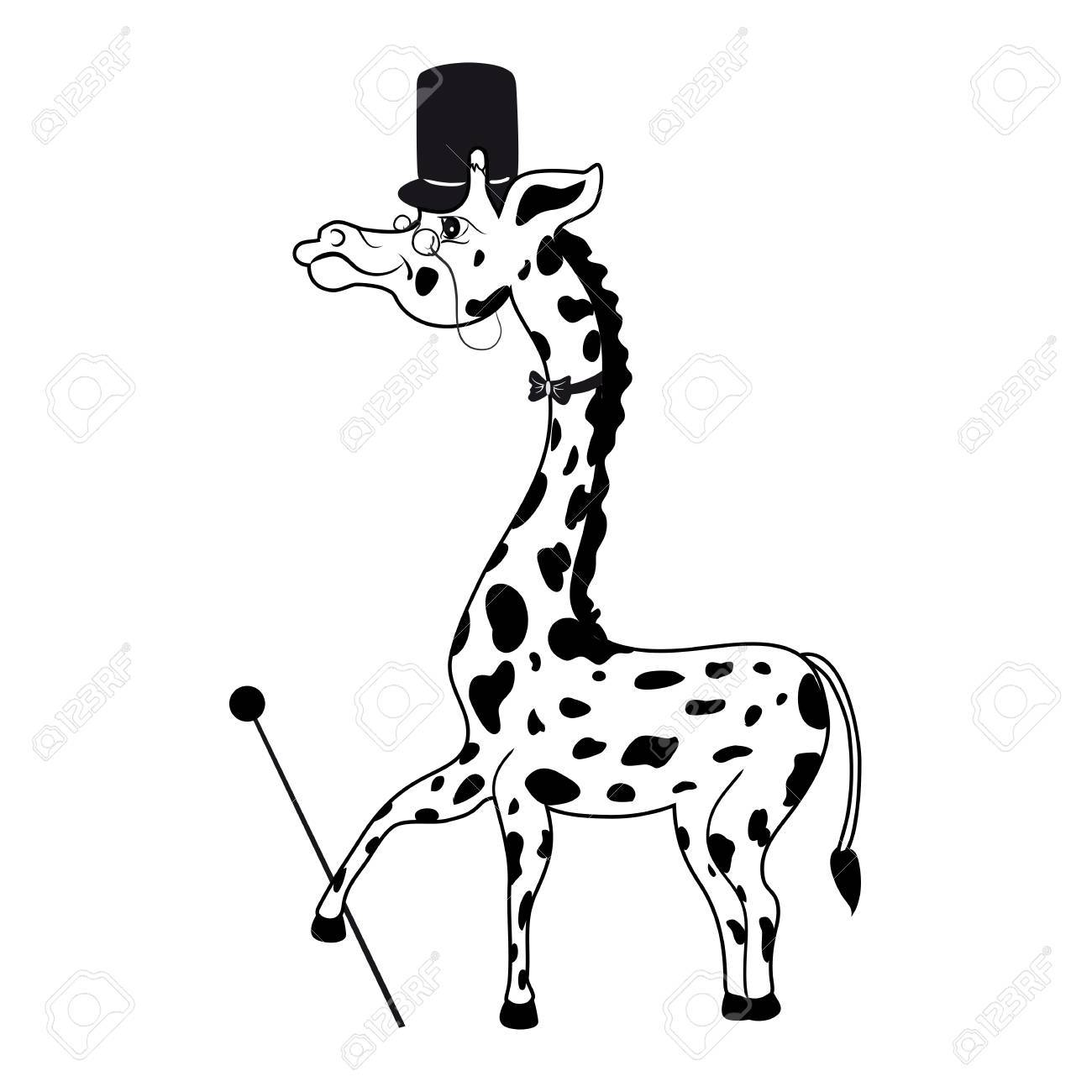 1300x1300 Decorative Cute Funny Count Giraffe With Cylinder, Tie, Cane