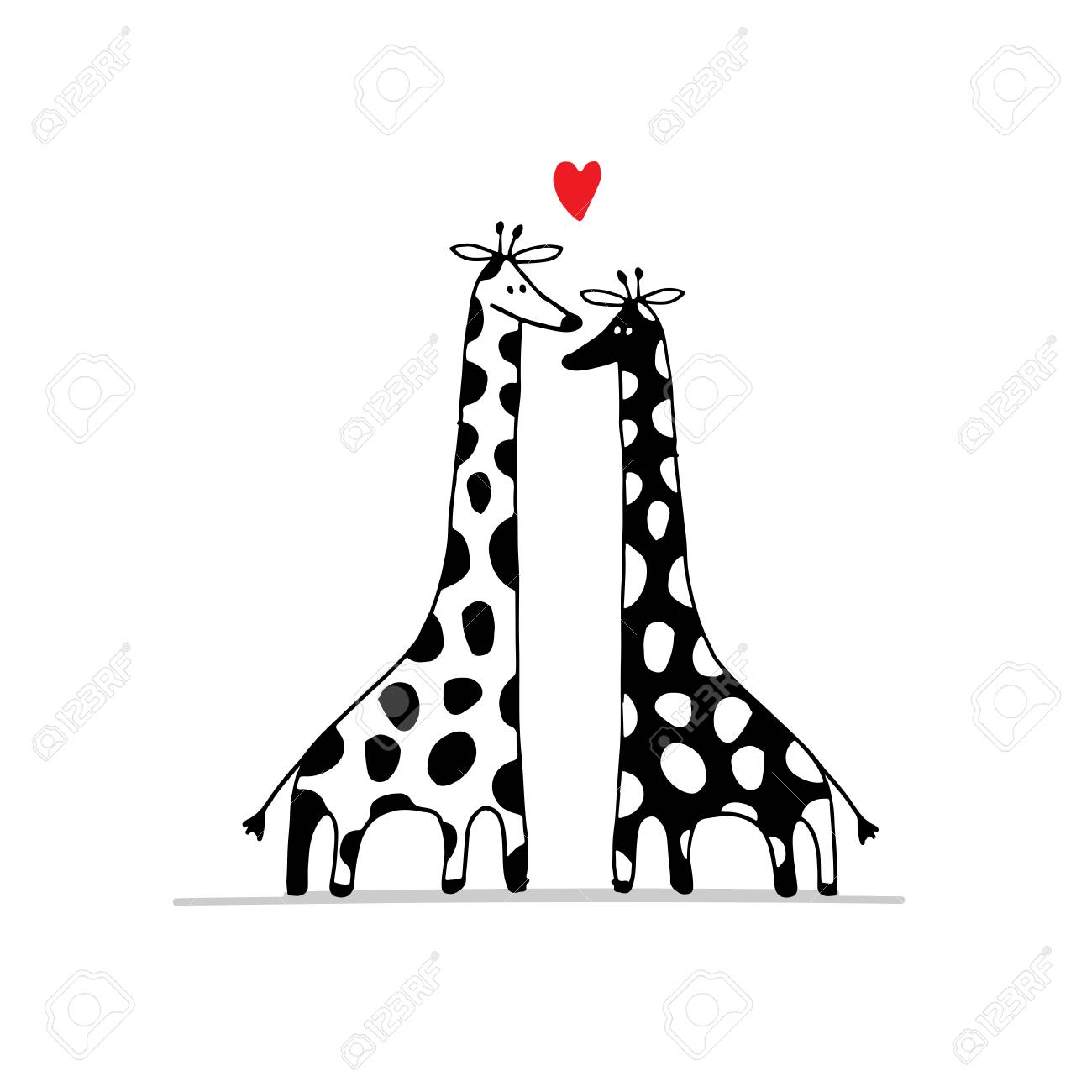 1300x1300 Giraffes Couple In Love, Sketch For Your Design. Illustration