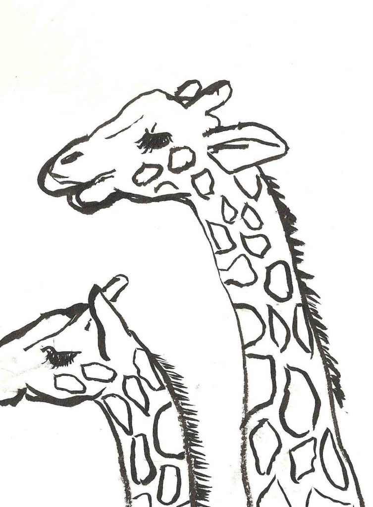 753x1024 Baby Giraffe Drawing Free Printable Giraffe Coloring Pages