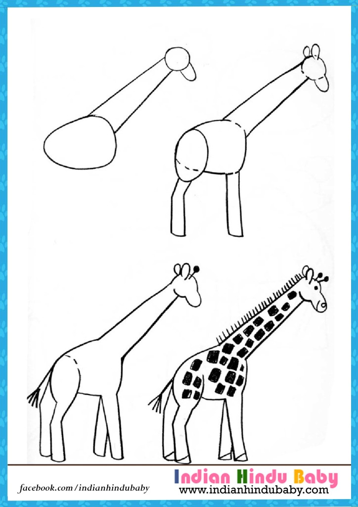 724x1024 Giraffe Step By Step Drawing For Kids Indian Hindu Baby
