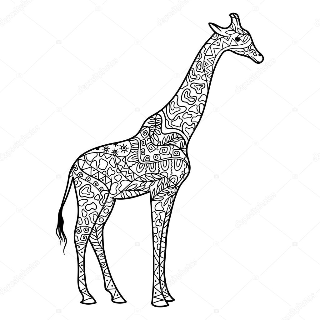 1024x1024 Giraffe Coloring Book For Adults Vector Stock Vector