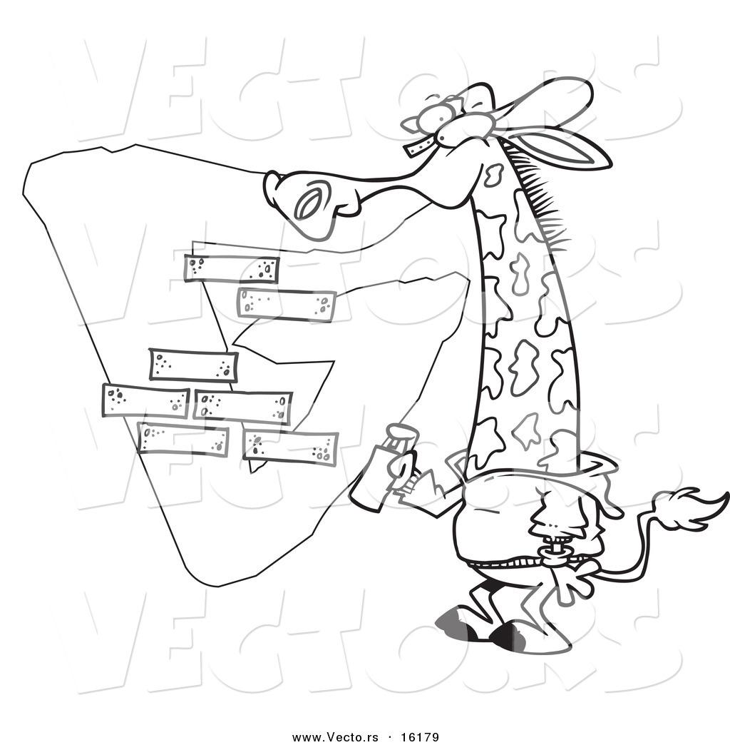 1024x1044 Vector Of A Cartoon Giraffe Spray Painting A G On A Wall
