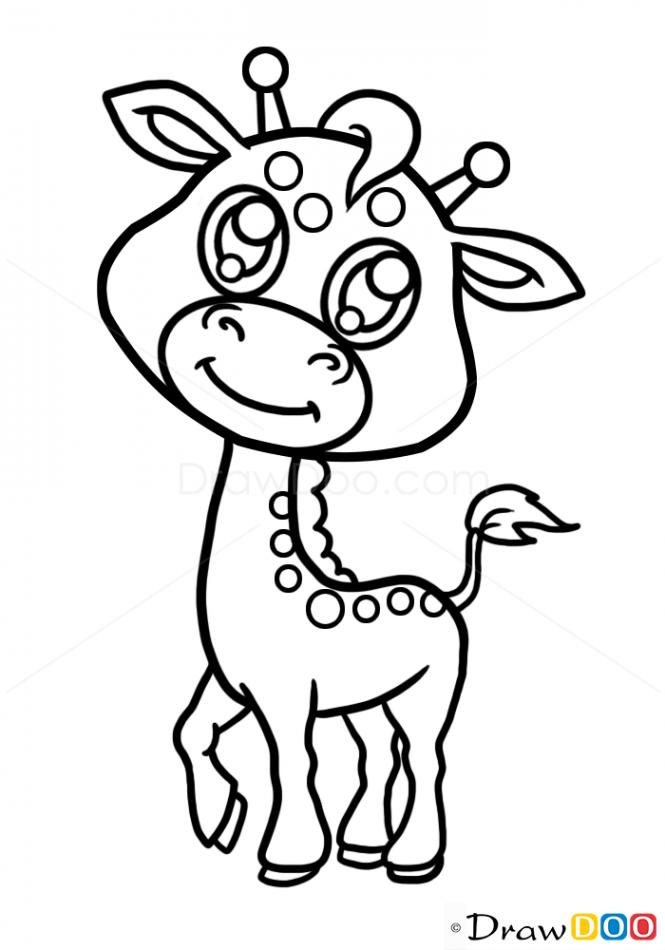 665x950 Drawn Giraffe Cute Animal
