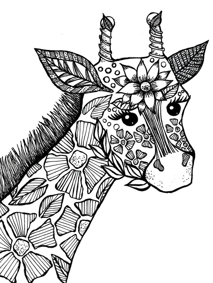 736x977 Giraffe Coloring Pages For Christmas