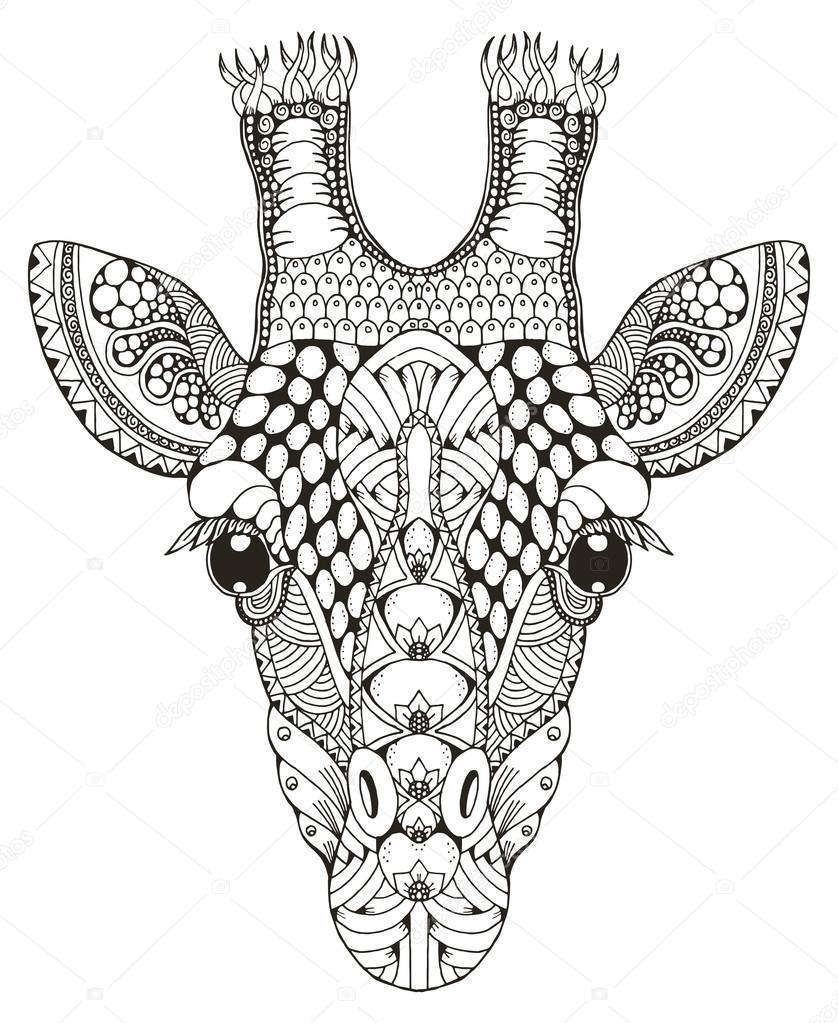 838x1023 Giraffe Head Zentangle Stylized, Vector Illustration, Freehand