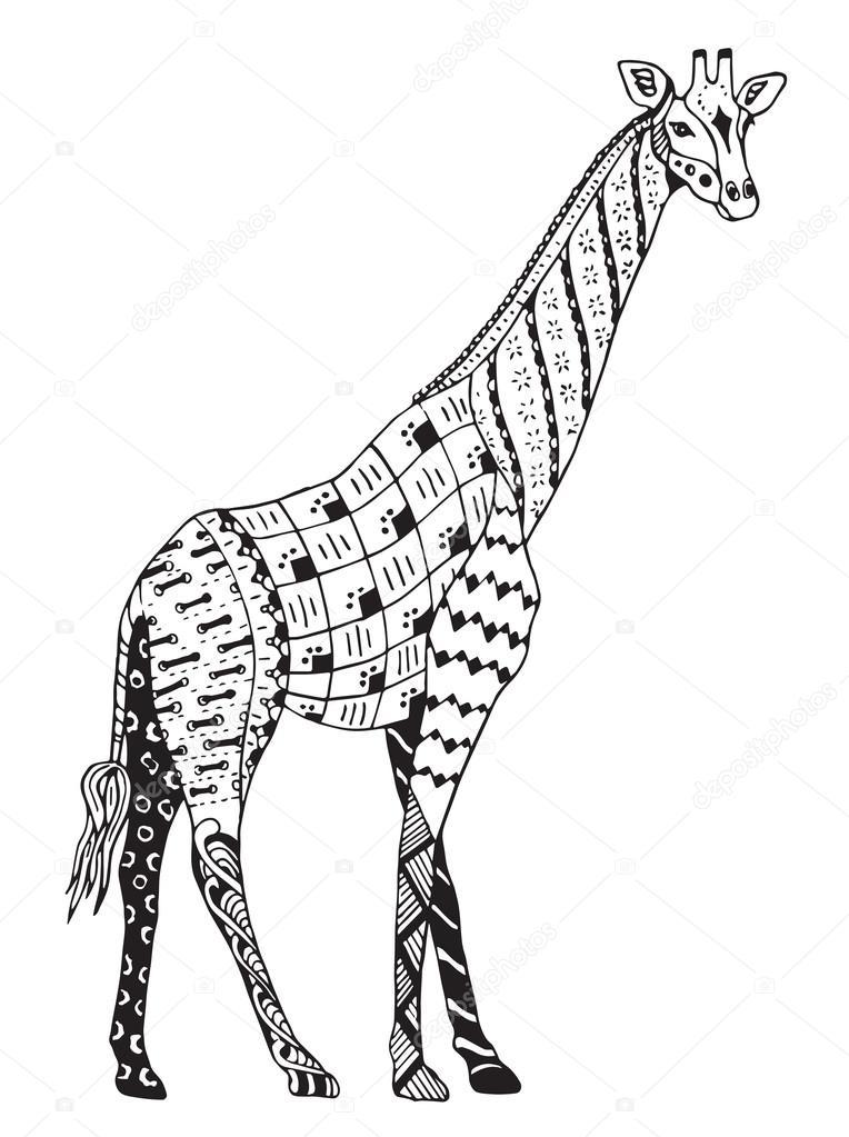 764x1023 Giraffe Zentangle Stylized, Vector, Illustration, Freehand Pencil