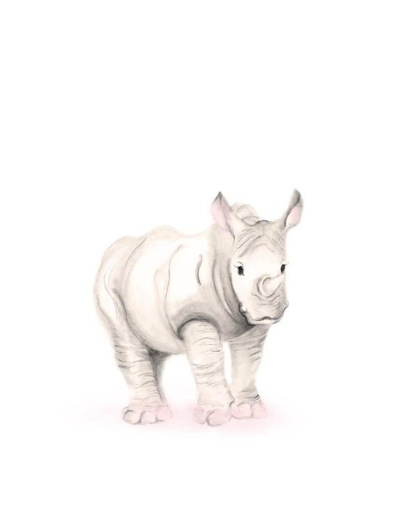 570x738 Safari Nursery Art Pencil Drawing Elephant Giraffe Lion