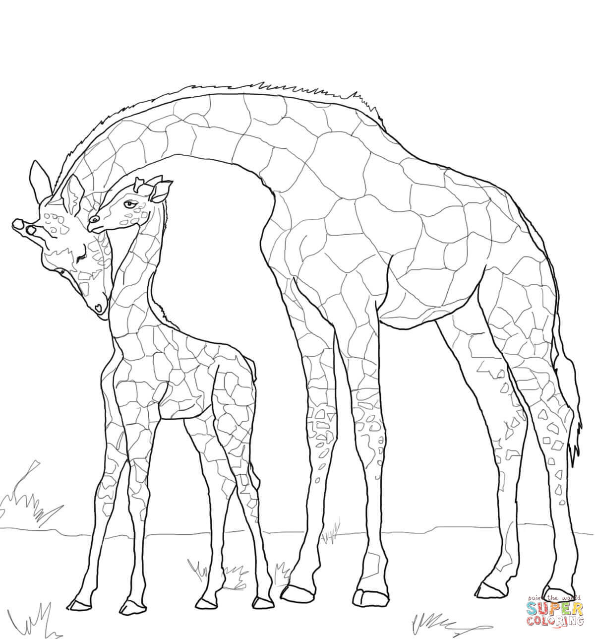 1200x1288 Drawn Giraffe Mother And Baby