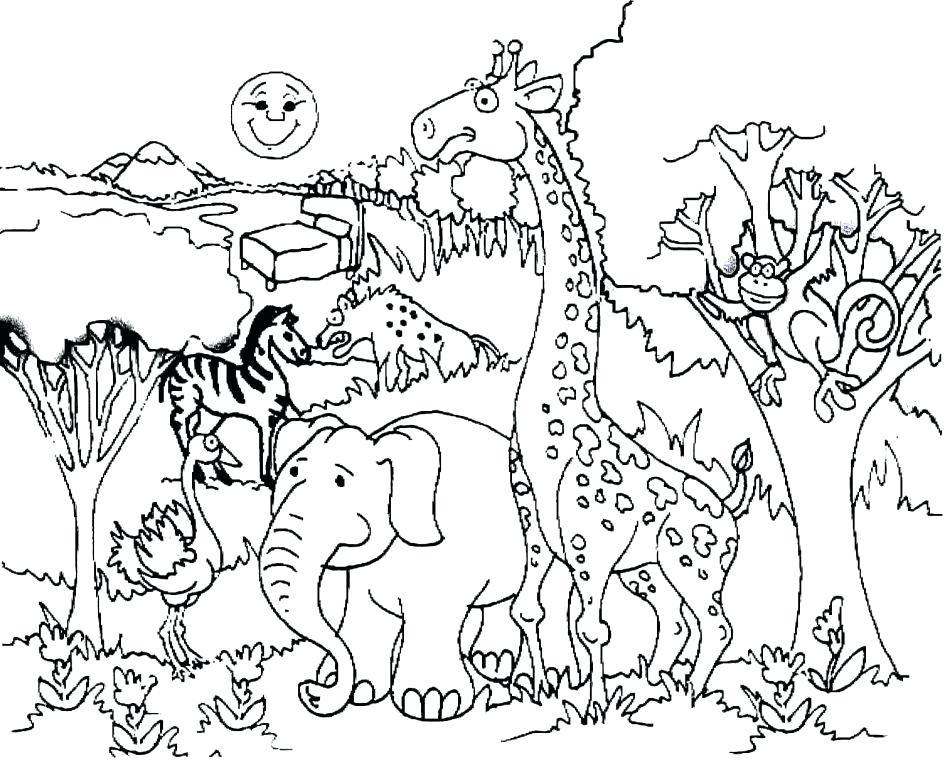 945x760 Giraffe Color Page